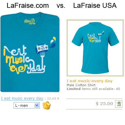 Comparison between LaFraise and Spreadshirt