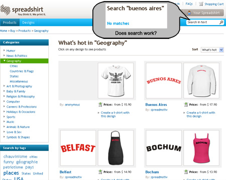 Spreadshirt Search