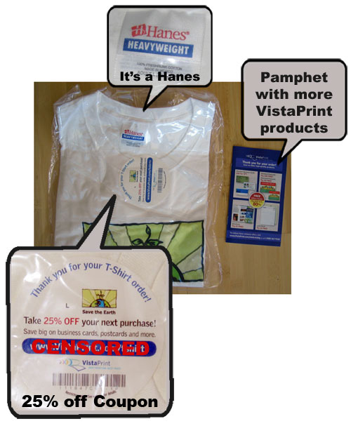 Inside VistaPrint Package