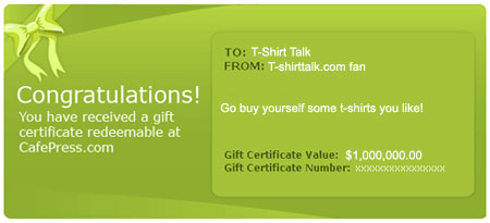 Cafepress Gift Certificates