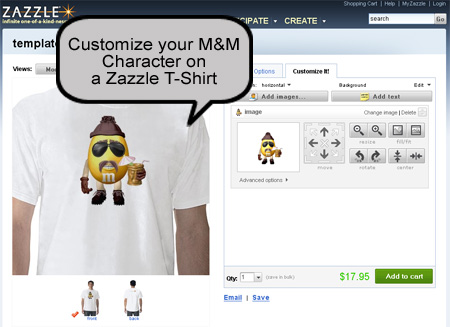 Zazzle M&M on a T-Shirt